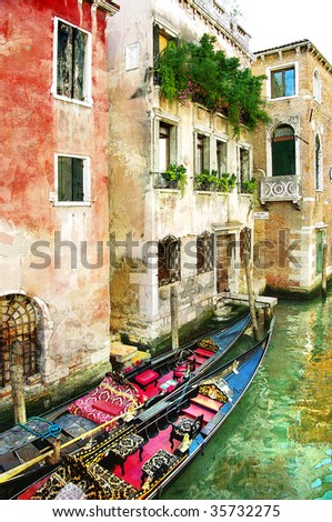 beautiful Venetian pictures - oil painting style - stock photo