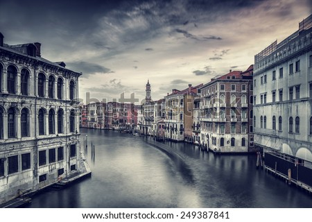 Beautiful Venice cityscape, vintage style photo of a gorgeous water canal, traditional Venetian street, romantic vacation to  Italy, fine art photo - stock photo