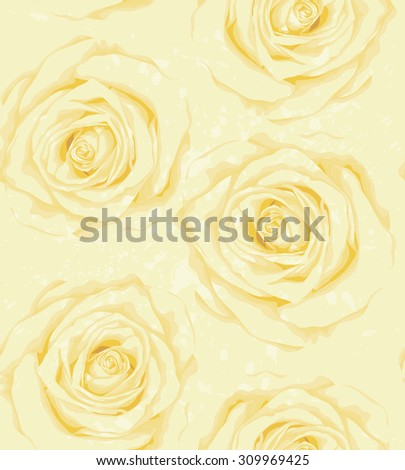 Beautiful vertical seamless background with yellow roses, sprays, drops. Hand-drawn with effect of drawing in watercolor - stock photo