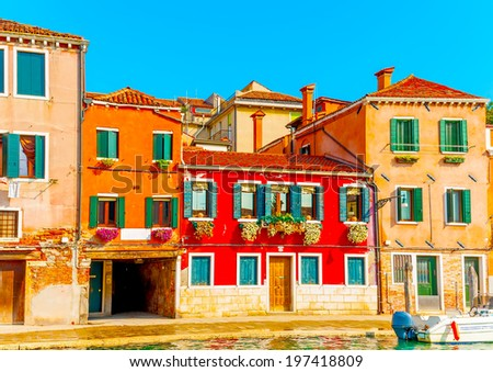 Beautiful very old buildings at Venice Italy - stock photo