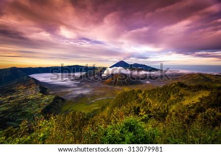 Beautiful Vibrant Bromo volcano at sunrise,Tengger Semeru National Park, East Java, Indonesia - stock photo