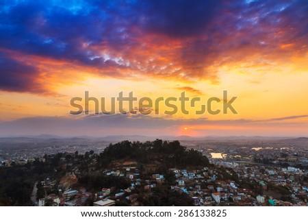 Beautiful vibrant cityscape of Antananarivo, Madagascar, at sunset - stock photo