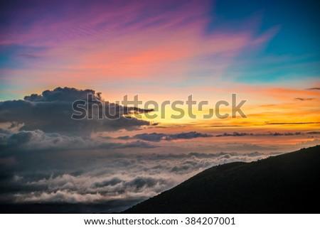 Beautiful Vibrant Sunset on Mauna Kea, Hawaii - stock photo