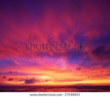Beautiful Vibrant Sunset Sky, Maui, Hawaii - stock photo