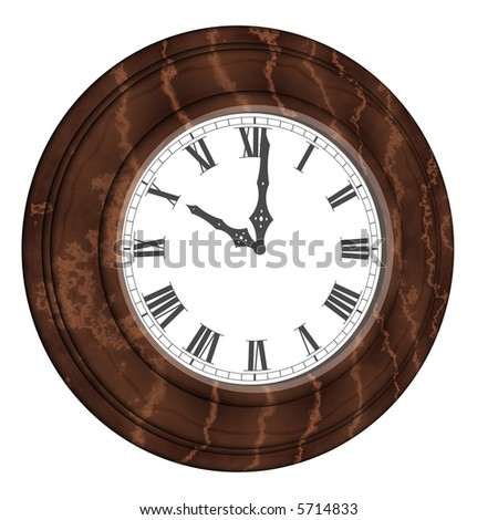 Beautiful victorian wall clock isolated on white