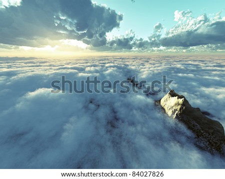 beautiful view above cloudscape and mountains - stock photo