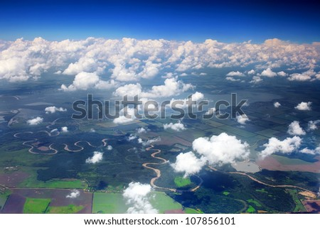 Beautiful view above the earth on landmark down. - stock photo