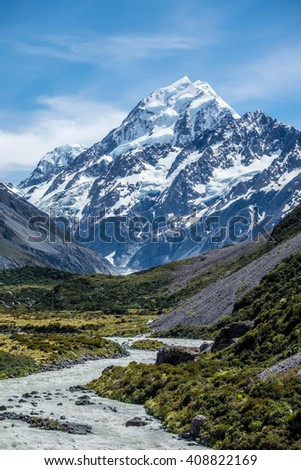 Beautiful view and glacier in Mount Cook National Park, South Island, New Zealand