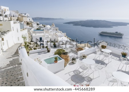 Beautiful view and white architecture in Santorini, Greece