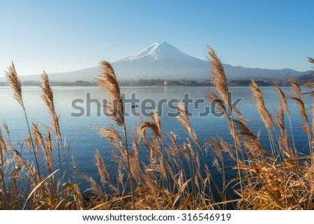 Beautiful view around lake Kawaguchi with Mount Fuji in background - stock photo
