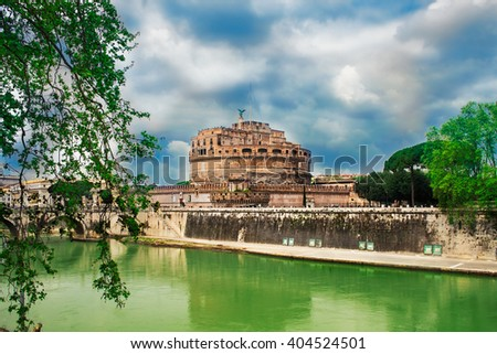 Beautiful view at Castle Sant'Angelo and the Tiber river in Rome, Italy. - stock photo