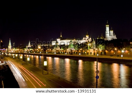 Beautiful view at  moscow kremlin in the night