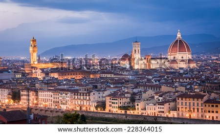 Beautiful view at sunset on the Santa Maria del Fiore in Florence, Italy - stock photo