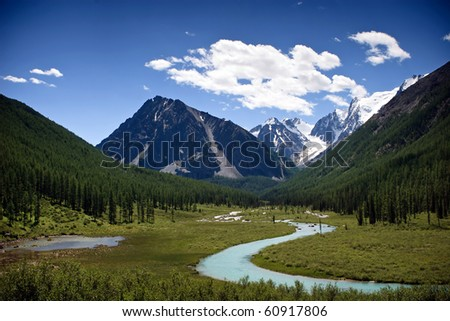 Beautiful view at the blue mountain river - stock photo
