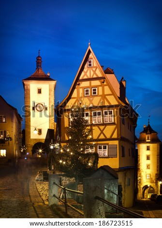 Beautiful view by night of the historic town of Rothenburg ob der Tauber, Franconia, Bavaria, Germany - stock photo