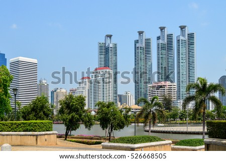 beautiful View city scape Lumpini park in Bangkok City, capital of Thailand