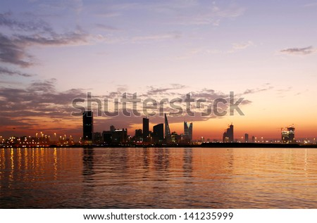 Beautiful view during blue hours - stock photo