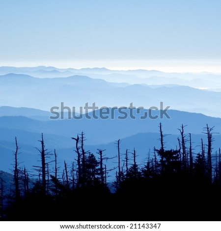 Beautiful view form clingmans dome, Great Smoky Mountains National Park, Tennessee - stock photo