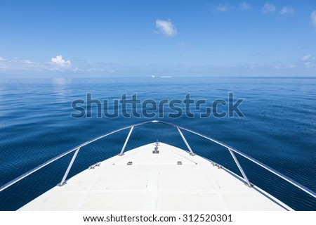 Beautiful view from a bow of yacht at seaward.Copy space - stock photo