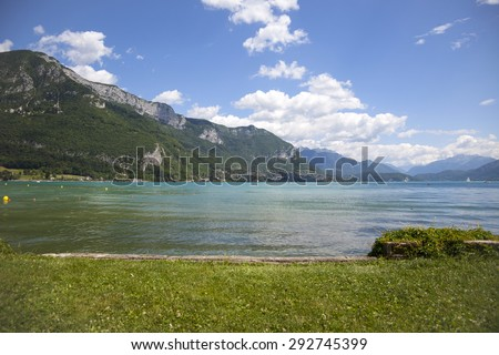 Beautiful view from Annecy lake, France - stock photo