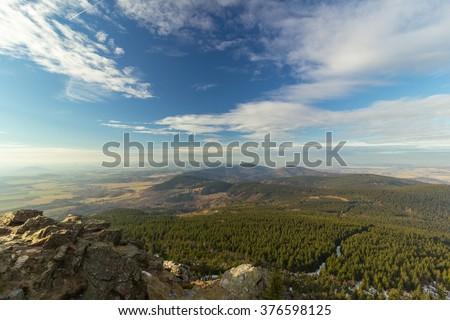 Beautiful view from Jested mountain, Liberec, Czech republic - stock photo