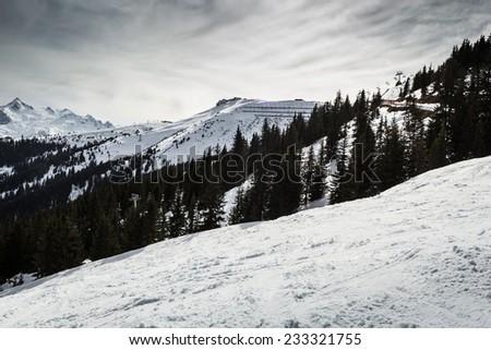 Beautiful view from Kitzsteinhorn ski resort in Alps - stock photo