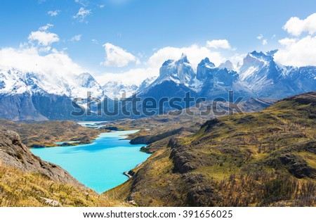 beautiful view from mirador condor at lake pehoe and cuernos del paine in torres del paine national park, patagonia, chile - stock photo