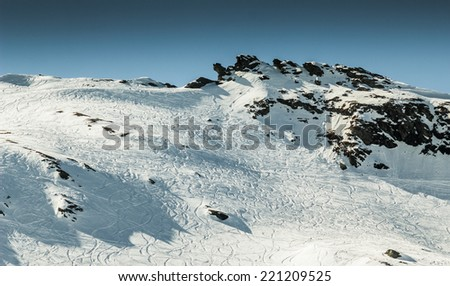 Beautiful view from one of famous ski resort in Alps - stock photo