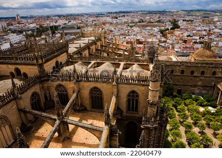 Beautiful view from the La Giralda tower of Seville Cathedral, Andalusia, Spain - stock photo