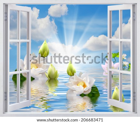 Beautiful view from the window - stock photo