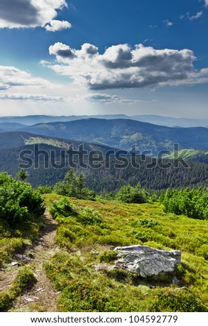 Beautiful view from trail of Beskidy mountains, Poland - stock photo
