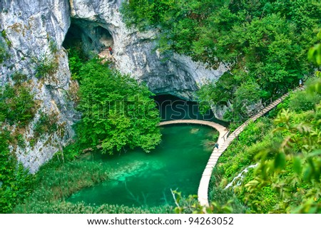 Beautiful view in the Plitvice Lakes National Park (Croatia) - stock photo