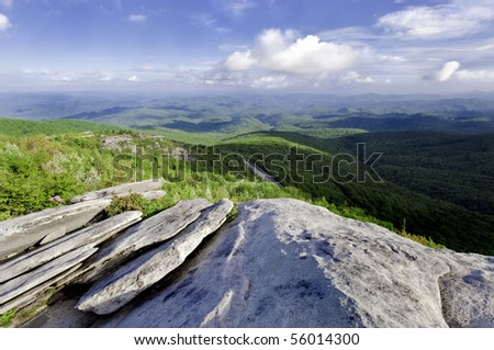 Beautiful view looking down on the Blue Ridge Parkway. North Carolina, USA
