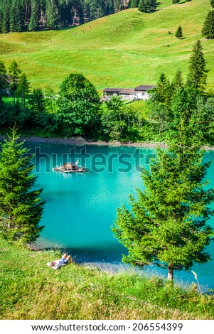 beautiful view mountain lake. Steg,Malbun in Lichtenstein, Europe