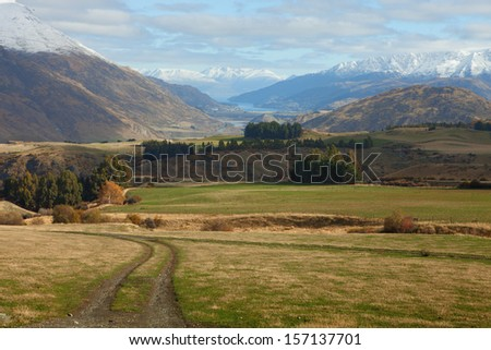 Beautiful view near Queenstown, South Island, New Zealand. Queenstown neighborhood in the late autumn. - stock photo
