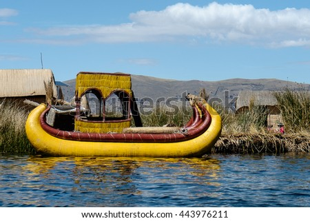 Beautiful view of a Reed boat Lake Titicaca