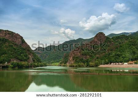 Beautiful View of a River  Towards Mountains - stock photo