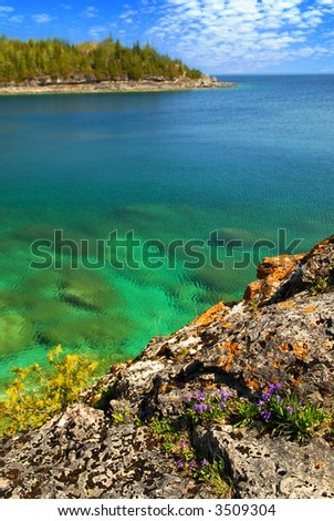 Beautiful view of a scenic lake with clear water. Georgian Bay, Canada - stock photo