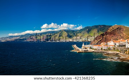 beautiful view of a small town Canical on the eastern coast of Madeira island, Portugal - stock photo