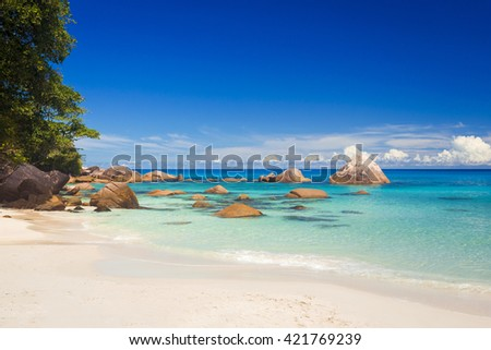 Beautiful view of Anze Lazio beach in Praslin, Seychelles - stock photo