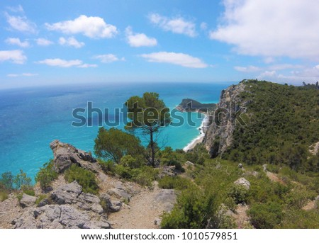 Beautiful view of Baia dei Saraceni with mediterranean sea and nature, Varigotti, Liguria, Italy