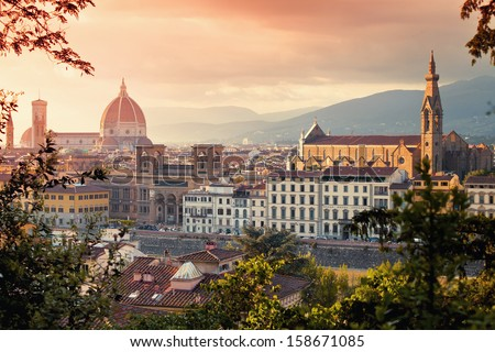 Beautiful view of Basilica Santa Maria Del Fiore and Basilica Santa Croce in sunset, Florence, Italy - stock photo