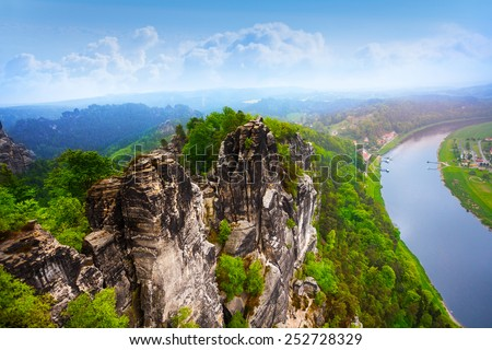 Beautiful view of Bastei rocks, Sachsische Schweiz near Dresden area, Germany - stock photo