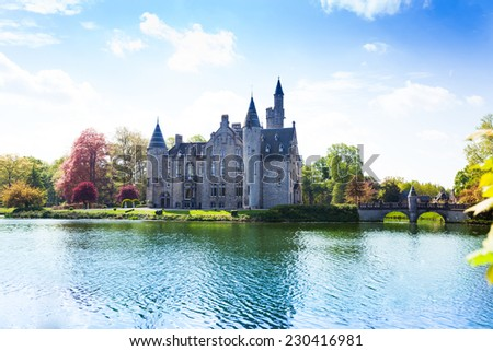 Beautiful view of Bornem Castle from the river side near Antwerp in Belgium - stock photo
