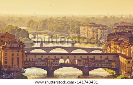 Beautiful view of bridge Ponte Vecchio, Florence, Italy - stock photo