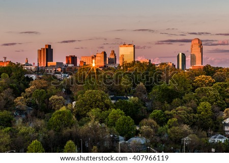 Beautiful view of business center in downtown at sunset, Winston-Salem, North Carolina - stock photo