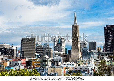 Beautiful view of business center in downtown San Francisco - stock photo
