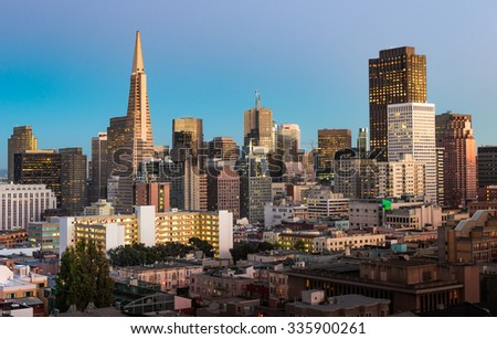 Beautiful view of business center in downtown San Francisco during twilight - stock photo