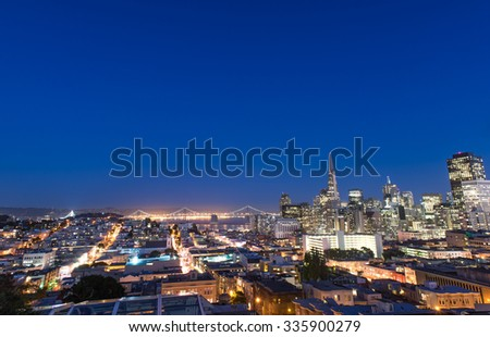 Beautiful view of business center in downtown San Francisco during twilight