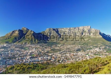 Beautiful view of Cape Town and Table Mountain, South Africa  - stock photo